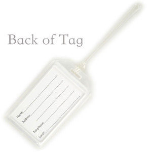 """Rigid Plastic Luggage Tag with Clear Front to display your customized tag. Comes with a 6"""" Worm Loop Strap and in it's own organza bag."""